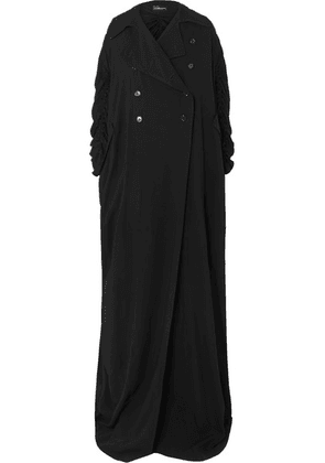 Ann Demeulemeester - Ruched Double-breasted Crepe Coat - Black