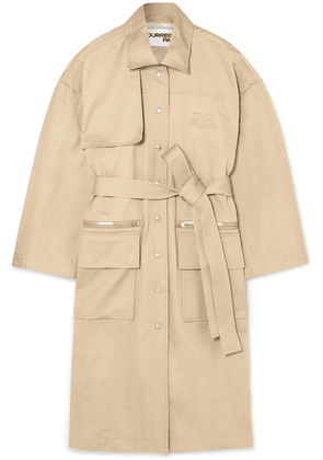 Courrèges - Embroidered Cotton-gabardine Trench Coat - Beige