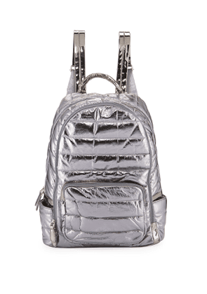 Girls' Quilted Metallic Faux-Leather Backpack