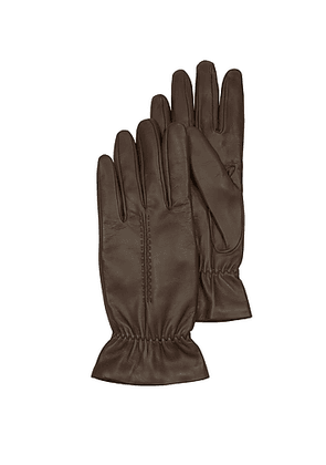 Chocolate Brown Leather Women's Gloves w/Wool Lining