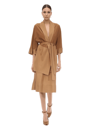 Belted Woven Silk Cardigan