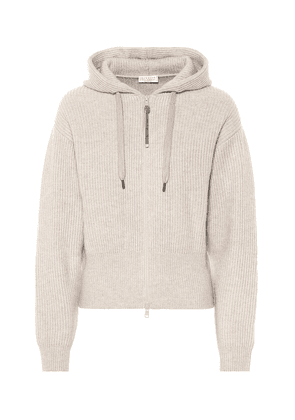 Ribbed cashmere hoodie