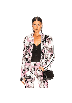 Norma Kamali Side Stripe Turtle Jacket in Floral,Gray,Pink,White