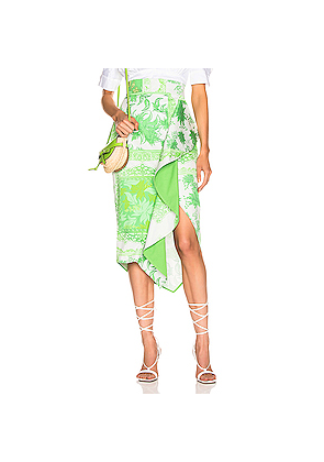 SILVIA TCHERASSI Waterloo Skirt in Green,Floral,Paisley,White