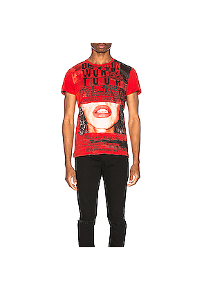 BALMAIN Printed T-Shirt in Novelty,Red