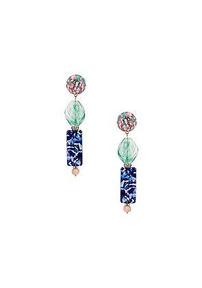 Lele Sadoughi Stacked Stone Earrings in Green,Blue