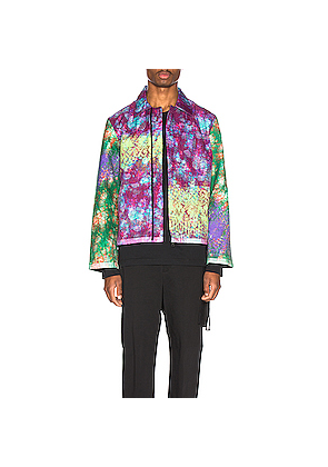 Craig Green Vibrating Floral Line Stitch Worker Jacket in Green,Ombre & Tie Dye,Purple