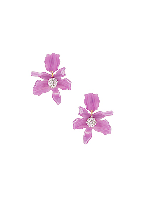 Lele Sadoughi Small Crystal Lily Earrings in Purple