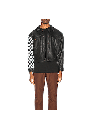 Enfants Riches Deprimes Checkered Sleeve Leather Jacket in Black