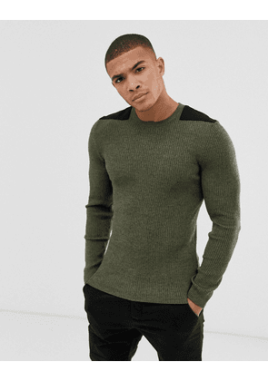 d11d5e58 ASOS DESIGN muscle fit ribbed jumper in khaki twist | MILANSTYLE.COM