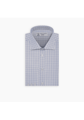 Blue and White Boxcheck Shirt with Regent Collar and Button Cuffs
