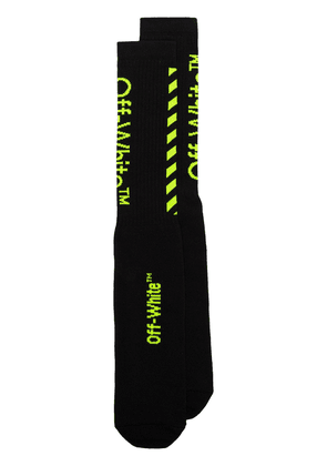Off-White black cotton fluorescent green logo socks