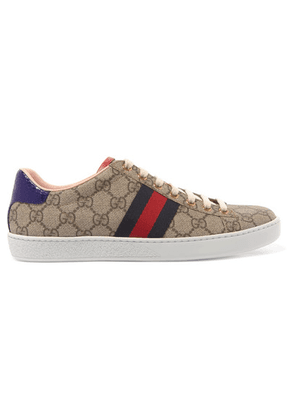 Gucci - Ace Gg Supreme Metallic Watersnake-trimmed Logo-print Coated-canvas Sneakers - Beige