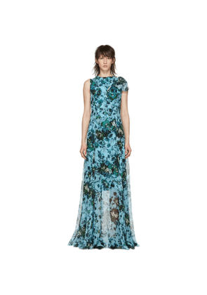 Erdem Blue & Green Fitzroy Rose Kassidy Dress
