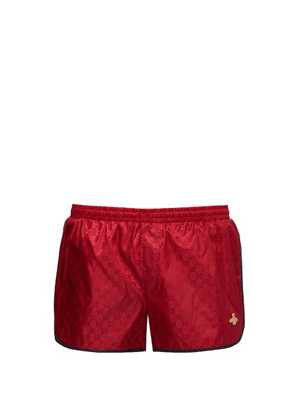 Gucci - Gg Bee-appliqué Swimshorts - Mens - Red Multi