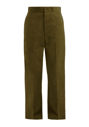 Chimala - High Waisted Wide Leg Cotton Trousers - Womens - Khaki
