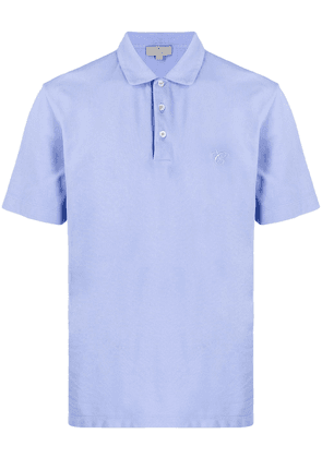 Canali embroidered monogram polo shirt - Blue