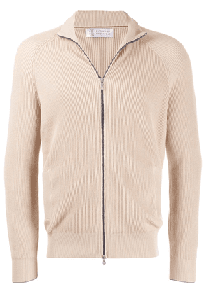 Brunello Cucinelli ribbed knit zip jumper - Neutrals