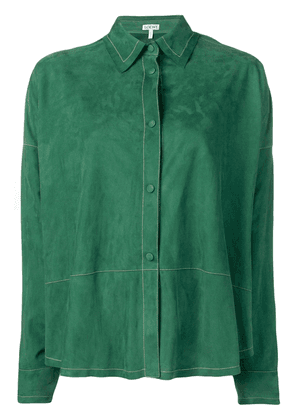Loewe suede button front shirt - Green