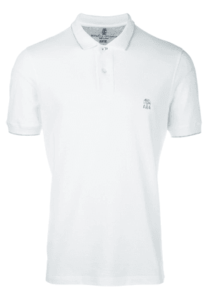 Brunello Cucinelli logo embroidered polo shirt - White