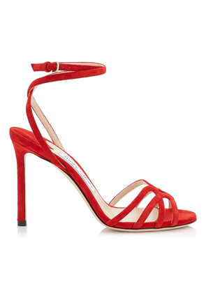MIMI 100 Red Suede Wrap Around Sandal