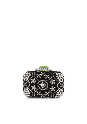 CLOUD Black Star Crystal Embroidered Clutch Bag with Crystal Clasp