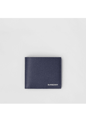 Burberry Grainy Leather International Bifold Coin Wallet, Blue