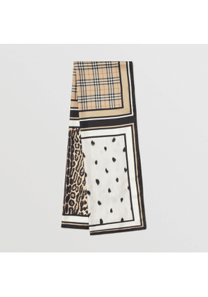 Burberry Vintage Check and Animal Print Silk Scarf, Beige