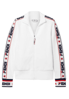 Fendi - Embroidered Cotton-blend Jersey Track Jacket - White