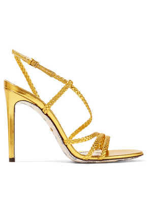 Gucci - Braided Metallic Leather Slingback Sandals - Gold