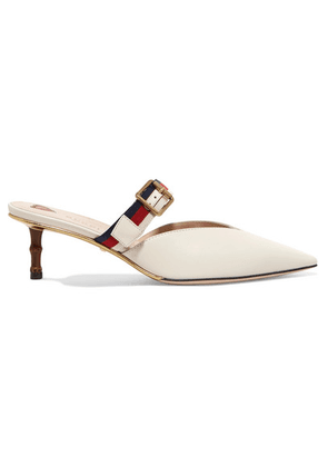 Gucci - Grosgrain-trimmed Leather Mules - White