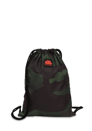 Logo Patch Camo Drawstring Backpack