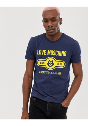 Love Moschino stamp logo t-shirt in blue