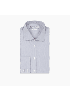 Slim Fit Navy Check Cotton Shirt with Contrast Regent Collar