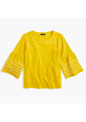 Bell-sleeve top with piping