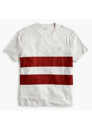 Triblend T-shirt in red double stripe