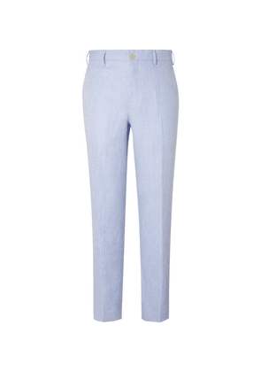 Anderson & Sheppard - Sky-blue Slim-fit Herringbone Linen Trousers - Blue