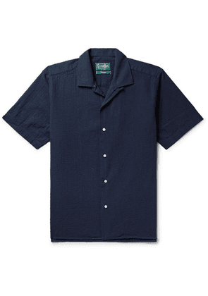 Gitman Vintage - Camp-collar Cotton-seersucker Shirt - Navy