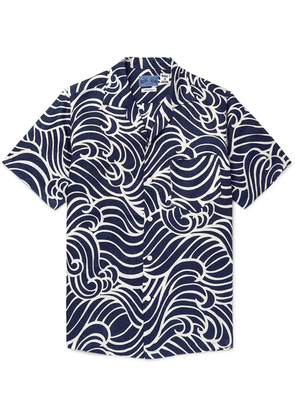Blue Blue Japan - Camp-collar Printed Linen Shirt - Indigo