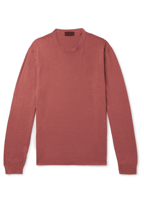 Altea - Slim-fit Linen And Cotton-blend Sweater - Red