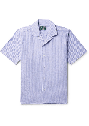 Gitman Vintage - Camp-collar Striped Cotton-seersucker Shirt - Blue
