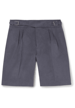 Anderson & Sheppard - Brushed Cotton-twill Shorts - Navy