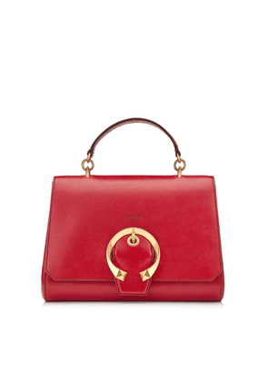 MADELINE TOPHANDLE Red Goat Calf Leather Top Handle Bag with Metal Buckle