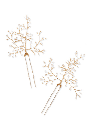 14 / Quatorze - Baby's Breath Set Of Two Gold-tone Pearl Hair Pins - one size