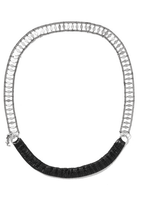 SAINT LAURENT - Silver-tone And Leather Headband - one size
