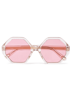 Chloé - Willow Hexagon-frame Acetate And Gold-tone Sunglasses - Pink