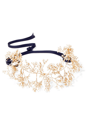 14 / Quatorze - Baby's Breath Gold-tone Pearl Headband - White