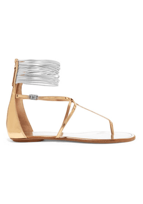 Aquazzura - Spin Me Around Metallic Leather And Cord Sandals - Gold