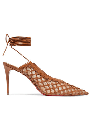 Christian Louboutin - + Roland Mouret Cage And Curry Mesh And Woven Leather Pumps - Tan