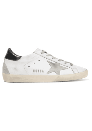 Golden Goose - Super Star Distressed Leather And Suede Sneakers - White